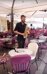 Aljaz Razdevsek on saxophone